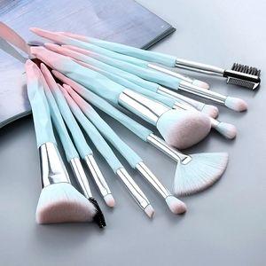 FLD 12 pieces Blue/Pink Makeup Brushes Set